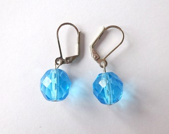 Blue fire polished czech beads earrings