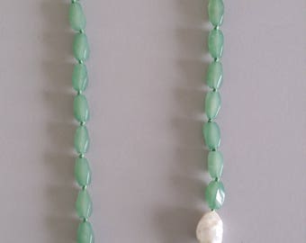 Aventurine Jade Necklace with Baroque Pearl Feature