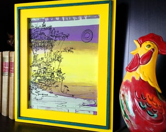 CLIFFHANGER #24 colorful summer beach print in purple, yellow, green (8x10)
