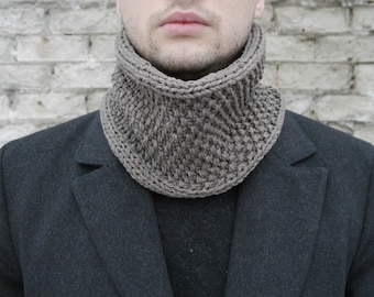 Winter Scarf / Men Scarf / Infinity Man Scarf / Knit Cowl Scarf / Brown Man Scarf / Best Man Gift / Gift For Boyfriend