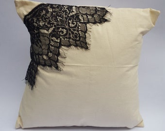 Natural Calico Pretty Black Lace Corner Envelope Cushion Cover Handmade