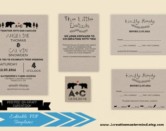 DIY Rustic Bear Wedding Invitation Template Printable, Invitation set, rsvp, detail, monogram, tag, Instant Download, #1CM93-1
