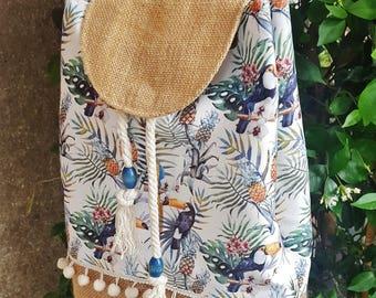 toucan bag, tropical backpack, toucan backpack, tropical summer bag, toucan gift, white pompom bag, jute beach bag, jute backpack