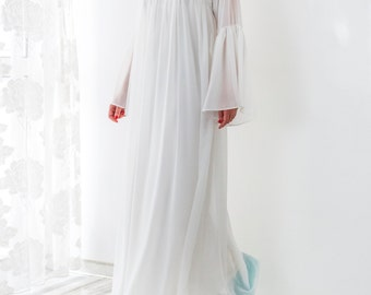 White Maxi Dress/ White dress/ White maxi dress with sleeves/ Chiffon dress/ Plus size dress/ Summer maxi dress/ White elegant dress/026.276