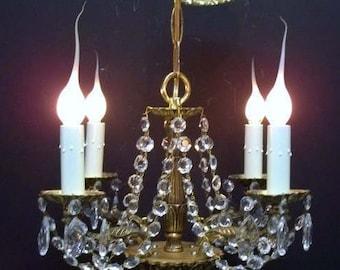 Ornate chandelier etsy small four light european brass crystal chandelier ornate brass petite chandelier lighting crystal hallway bathroom 2 aloadofball Choice Image