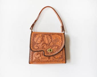 vintage tooled purse, hand tooled floral leather handbag, 60s 70s embossed flower boho southwestern bag