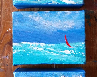 Three small seascapes - triptych, small canvas