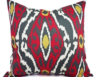 Two Ikat Pillow Covers Charcoal Red and Beige - Red Decorative Pillow - Red Ikat Pillow - Accent Pillow -  Pillow Covers - Ikat Pillows