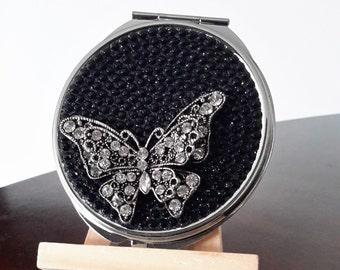 Rhinestone Butterfly Compact Mirror