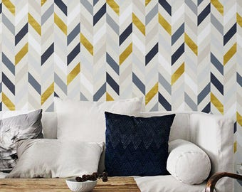 Bohemian decor, Herringbone pattern, Removable wallpaper, Wall sticker, BW014