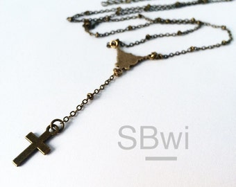 Simple rosary necklace in bronze