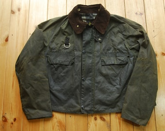 Vintage 80's  Two Crest Barbour Fly Fishing Short Waxed Spey Jacket Large A130
