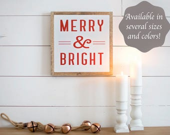 Holiday Sign | Holiday Sign Wood | Holiday Signage | Merry and Bright Sign | Merry and Bright Wood Sign | Holiday Wood Sign | Holiday Signs