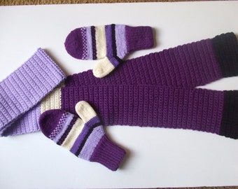 Hand Knit Mittens & Scarf Set - Berry Bushes - for Ladies/Teens
