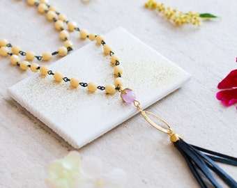 Multi Strand Cream Bead and Leather Tassel Necklace, Leather Tassel Necklace