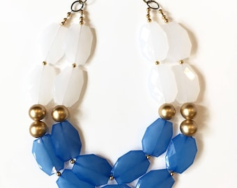 Statement Necklace - Blue, White and Gold Necklace - Gold Statement Necklace
