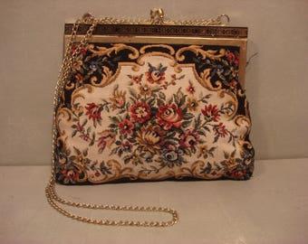 Vintage 1950s Victorian Floral Tapestry Handbag