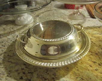 Vintage silver on copper covered vegetable or casserole dish