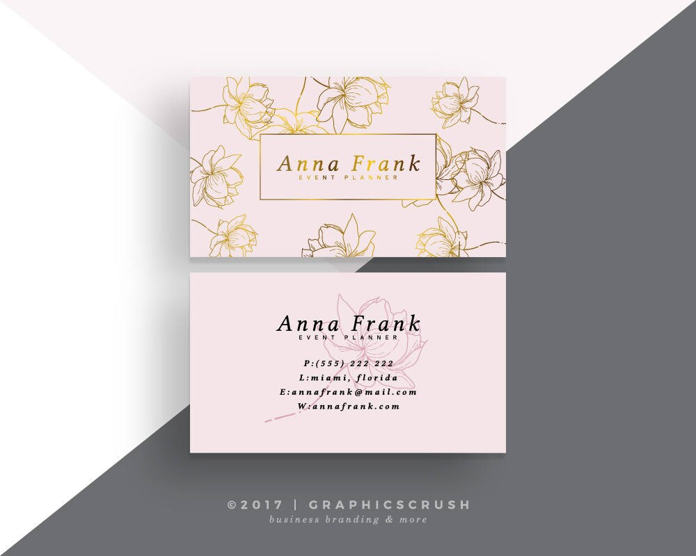 Business Card Design Pink and Gold Business Card