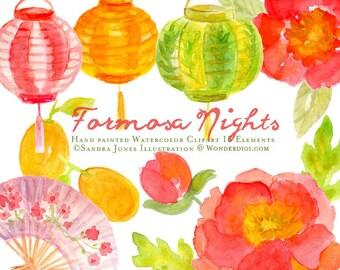 Watercolor Clipart - Watercolor Clip Art - Watercolor Floral Chinese Lanterns Clipart Illustration
