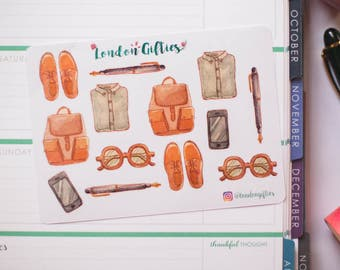 Traveller's dream outfit & accessories- decorative watercolour planner stickers suitable for any planner -338-
