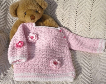 Crochet Infant Girl Sweater, Pink w White Stripes, Pullover with Flowers  12 mo.