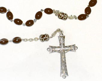 1930s Vintage Rosary, Dark Brown Bead Rosary, Early Vintage Brown Bead Rosary, Vintage Rosary, Religious Item from NewYorkMarketplace Etsy