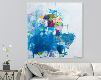 """Large Abstract painting on Canvas art, Abstract art, Contemporary art, Modern painting Blue Painting 32x32 """"Just Playing 04"""""""