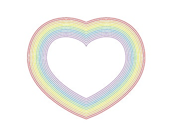 Simple Rainbow Heart Embroidery Machine Design