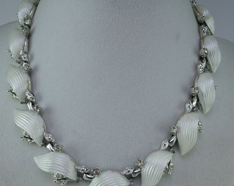 Silver Tone and White Lucite Necklace with Rhinestones 1950s