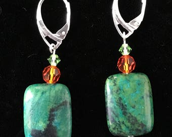 Speckled stone, orange, and green crystal earrings