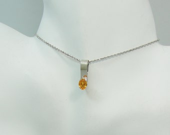 PENDANT 14K White Gold Golden Topaz oval  PEN14KWGT8X6OV