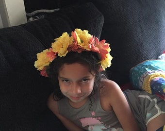 Yellow & orange/peach floral fairy crown