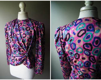 Vintage FLORA KUNG Silk Wrap Blouse 80's Top Pink Purple Art Print Medium Long Sleeve Leopard Jungle Work Shirt Ruched Fitted Green Size 8