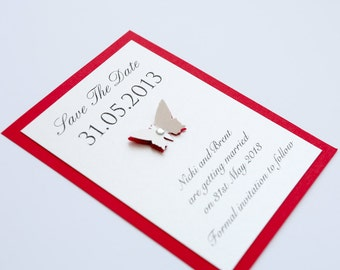 Butterfly Flat Save the Date Red & Ivory