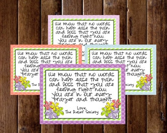 Relief Society Sympathy Cards- (4) 3.5x5 Cards- Instant download