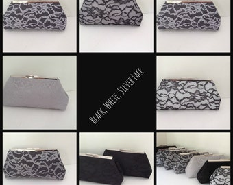 Discount for Multiple Black and White Lace Clutch Purse Orders  (Your Choice), Wedding Clutch, Bridesmaid Gift, Custom Wedding Gifts,
