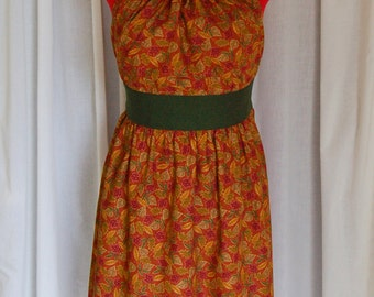 Leafy Delight Apron / New Handmade Halter-Style Ladies' Apron / Fall / Thanksgiving / One Size
