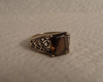 Women's Sterling Silver and Smoky Quartz Ring - size 7