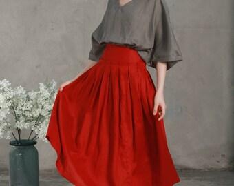 linen skirt, maxi skirt, skirt with pocket, long linen skirt in red, green, pleated skirt, full skirt, a line skirt, flared skirt, custom