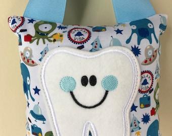 Tooth Fairy Pillow - Space Alien Pillow with Light Blue Ribbon - Kids Pillow - Kids Gift