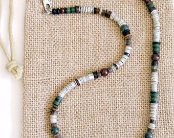 Men's Garnet Gray Green Earth Necklace