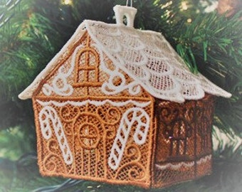 Embroidered Christmas Tree Decorations - Gingerbread House