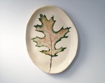 Autumn Black Oak Leaf Ceramic Catch All Dish (no 450)