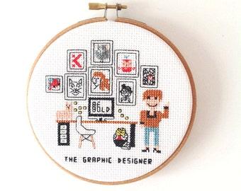 Completed hoopart graphic designer. Gift for Graphic designer. Custom Cross Stitch portrait. designer gift ideas. Handmade art gift