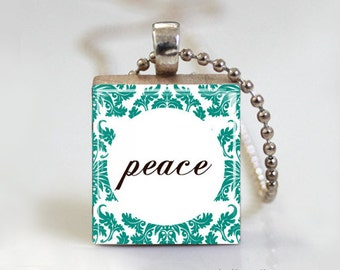 PEACE Damask Print Quote - Scrabble Pendant Necklace with Free Ball Chain Necklace or Key Ring