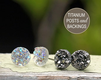 2 Pair Set of Glitter Stud Earrings - 10mm Faux Druzies in Gunmetal Gray Metallic and Clear Glitter, Titanium Post Earrings