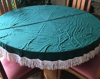 """Vintage Green Round Tablecloth with White Fridge 66"""" with White Fringe"""