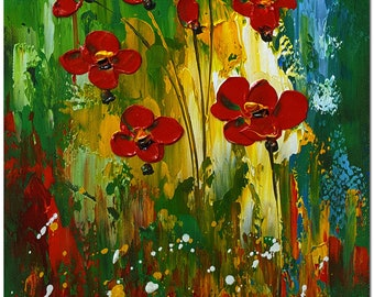 Red Poppies - Signed Hand Painted Impressionist  Flower Painting On Canvas CERTIFICATE INCLUDED