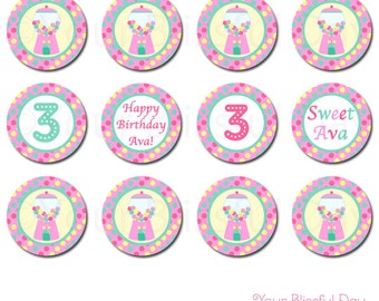 Gumball Girl Party Circles | Birthday Girl Gumball Cupcake Toppers | PRINTABLE Girl Gumball Stickers #537